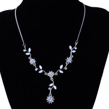 Floral Leaf Rhinestone Necklace