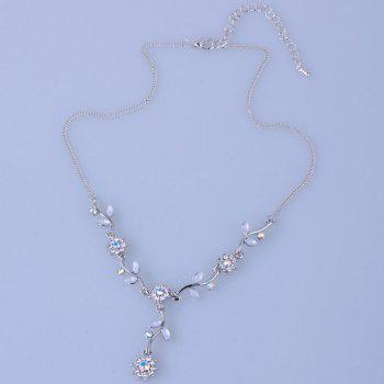 Floral Leaf Rhinestone Necklace - SILVER