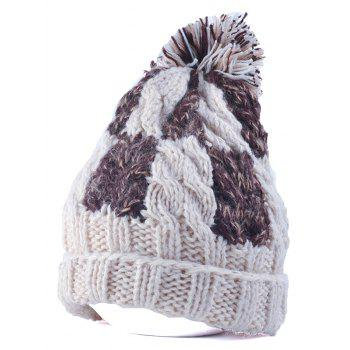 Flanging Check Pattern Ball Top Beanie