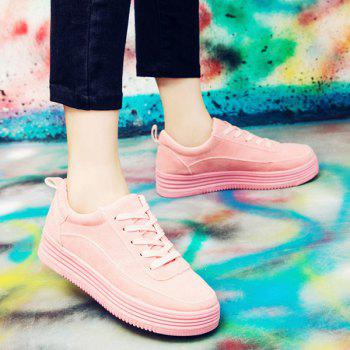 Tie Up PU Leather Breathable Athletic Shoes - PINK 38