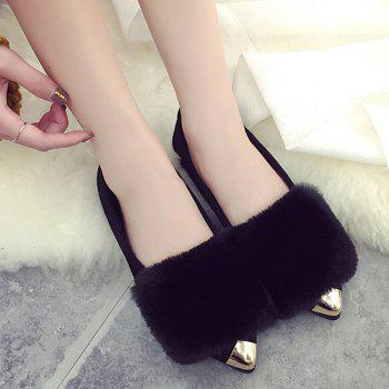 Flock Faux Fur Metal Toe Flat Shoes