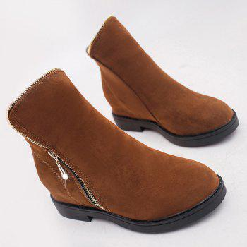 Round Toe Flat Heel Zipper Ankle Boots