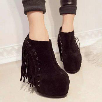 Fringe Hidden Wedge Ankle Boots