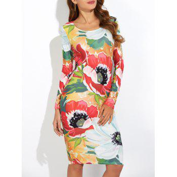 Long Sleeve Floral Print Slimming Dress