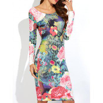 3D Floral Print Bodycon Dress with Long Sleeve