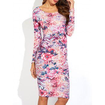 Ornate Floral Print Long Sleeve Dress