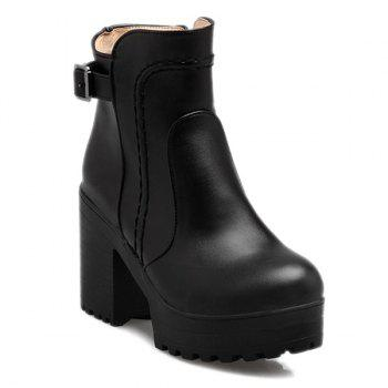 Stitching Platform PU Leather Chunky Heel Boots