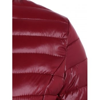 Plus Size Double Pocket Quilted Jacket - WINE RED 2XL
