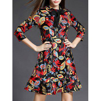 Ruffle Floral Print Dress