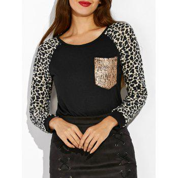 Raglan Sleeve Leopard Print Pocket Design Sweatshirt