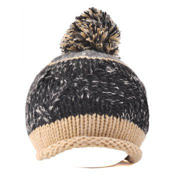 Multi Color Knit Ball Rolled Edge Beanie - BLACK