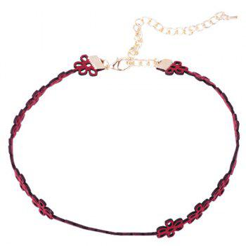 Retro Velvet Hollow Out Floral Choker - RED