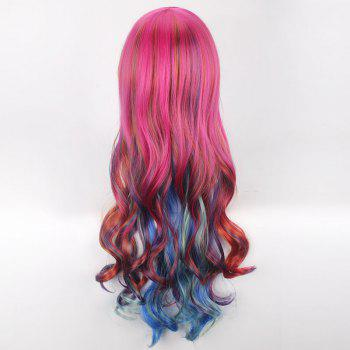 Long Side Bang Colorful Wavy Cosplay Synthetic Wig - COLORFUL