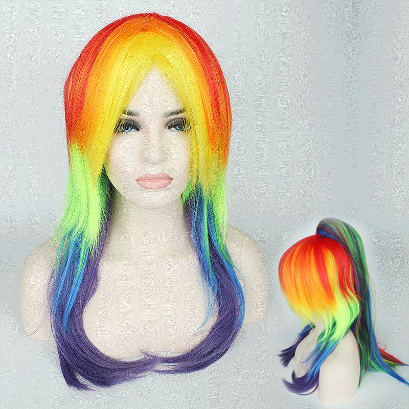 Long Tail Adduction with Ponytail Rainbow My Little Pony Cosplay Synthetic Wig wholesale dm32056 lacus clyne cute pink long anime cosplay wig with 2 ponytail discount35