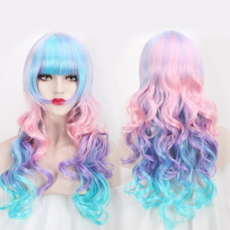 Long Neat Bang Colored Wavy Cosplay Lolita Synthetic WigHair<br><br><br>Color: COLORFUL