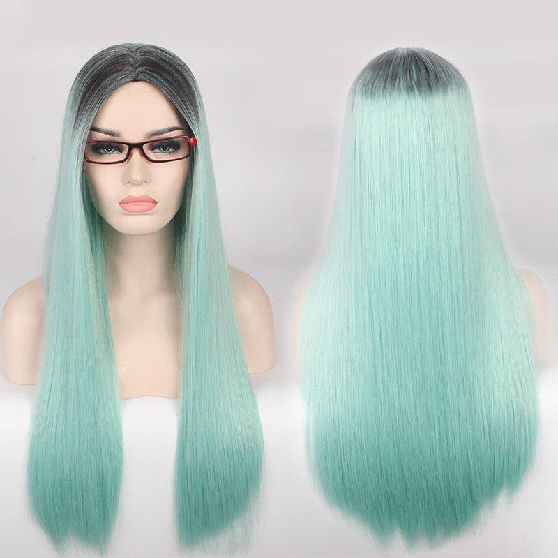 Long Centre Parting Double Color Straight Cosplay Synthetic Wig centre speaker