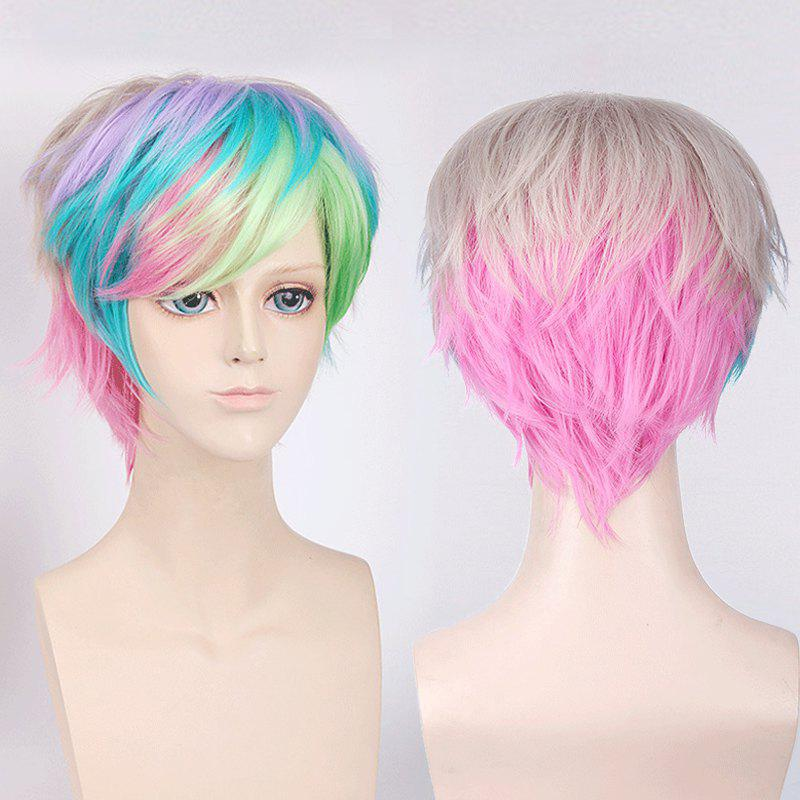 Short Side Bang Fluffy Colorful Straight My Little Pony Cosplay Synthetic Wig - COLORFUL