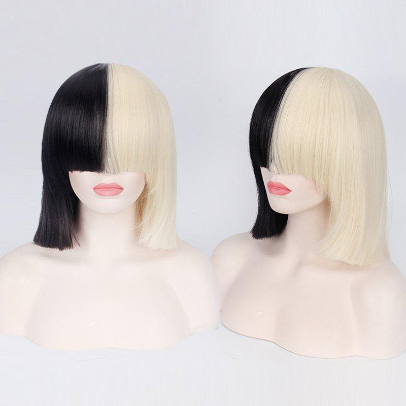 Short Full Bang Double Color Straight Sia Cosplay Synthetic Wig - YELLOW/BLACK