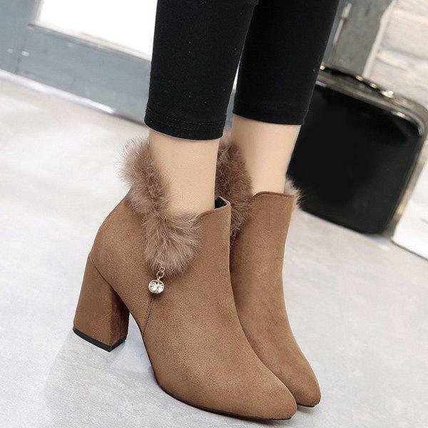 Faux Fur Pointed Toe Rhinestone Ankle BootsShoes<br><br><br>Size: 38<br>Color: CAMEL
