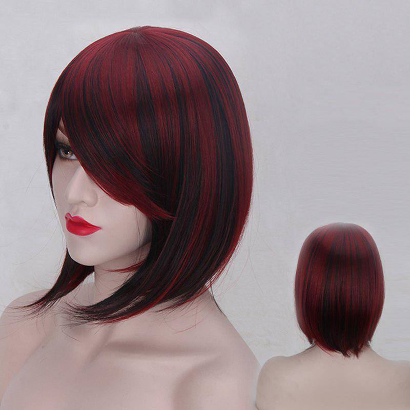 Short Straight Oblique Bang Double Color Synthetic Wig - RED/BLACK