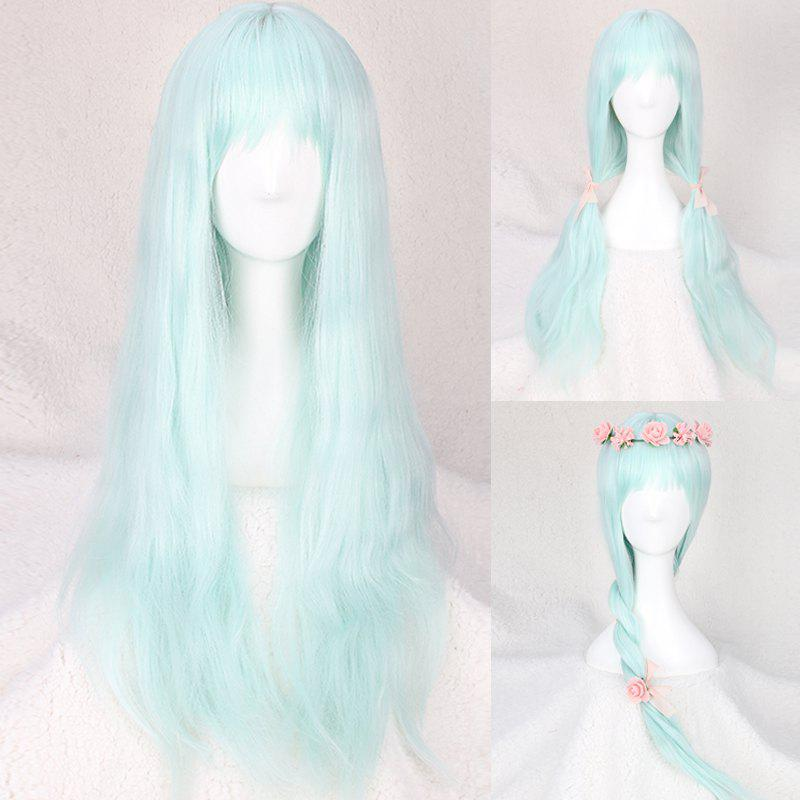 Long Slightly Curled Full Bang Fairy Cosplay Synthetic Wig portable car cigarette powered dual usb charger for iphone ipad ipod red 12 24v