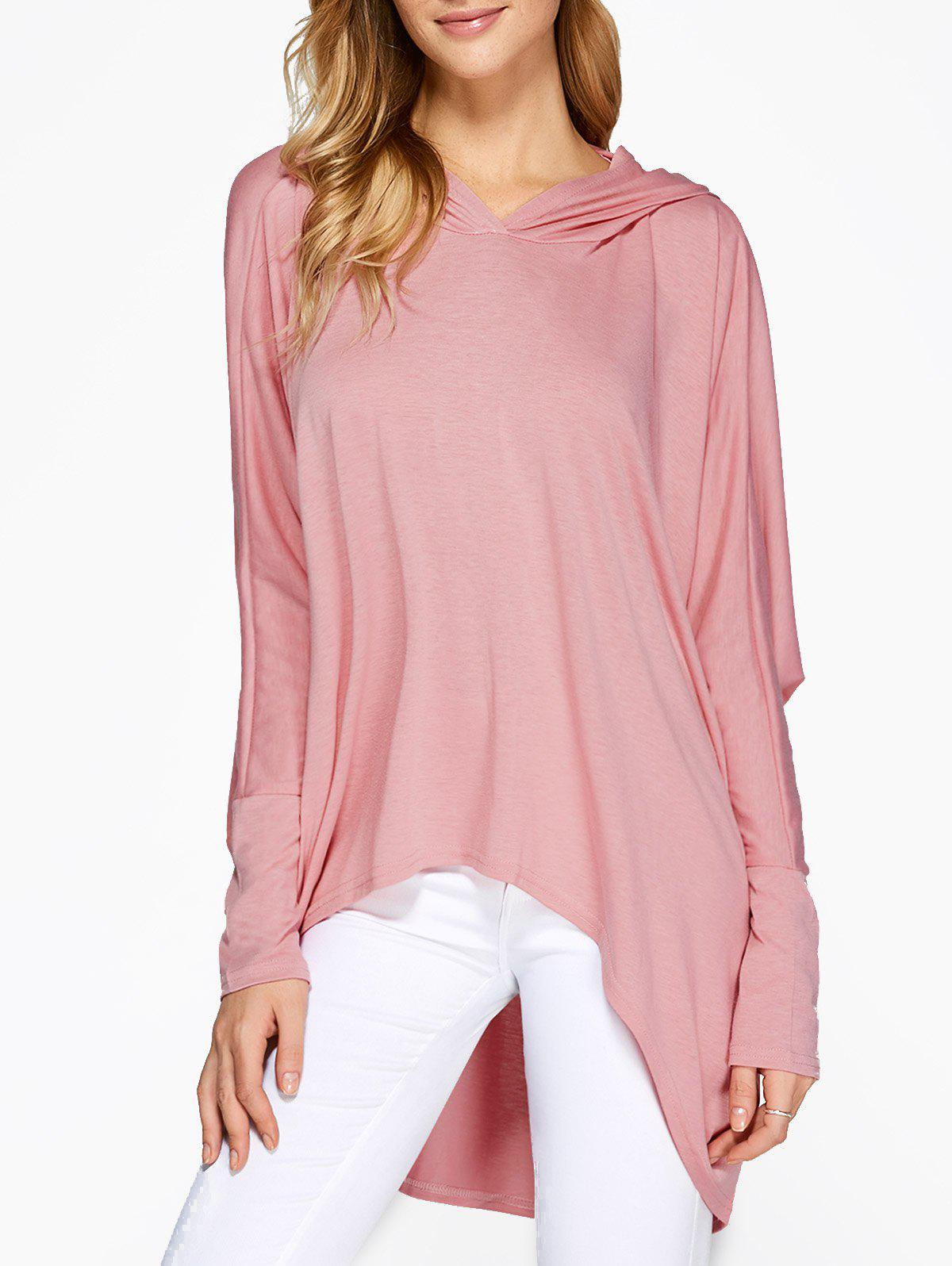 Hooded Batwing Sleeve High Low T-Shirt lace spliced batwing sleeve high low striped shirt