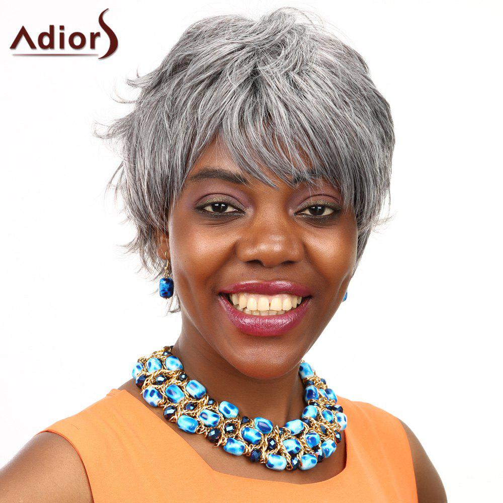 Adiors Straight Short Layered Fluffy Side Bang Colormix Synthetic WigHair<br><br><br>Color: COLORMIX