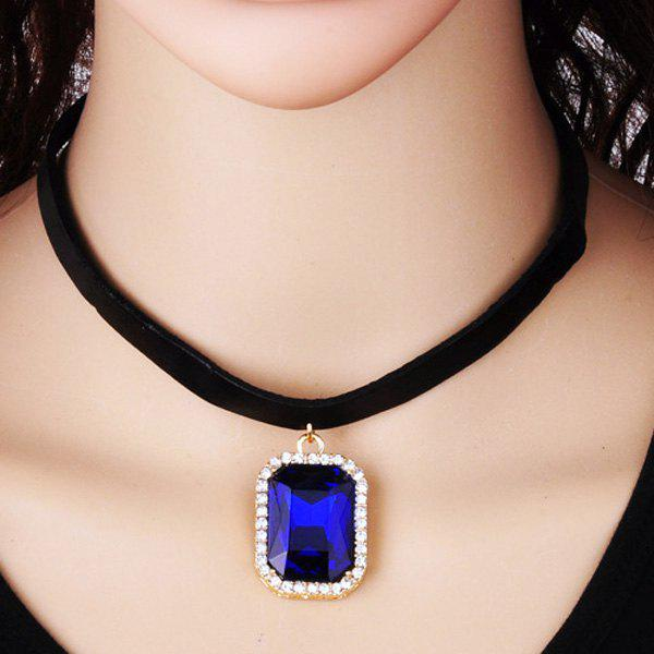 Rounded Rectangle Rhinestone Choker - BLUE