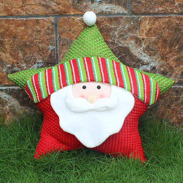 Santa Claus Cushion Cover Christmas Star Pillow - WHITE