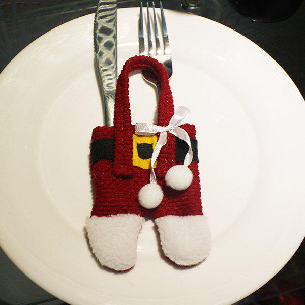 Christmas Santa Pants Knives and Forks Bag Table Decoration