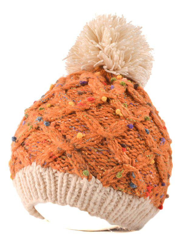 Outdoor Latticed Knit Ball Top Beanie - ORANGE RED