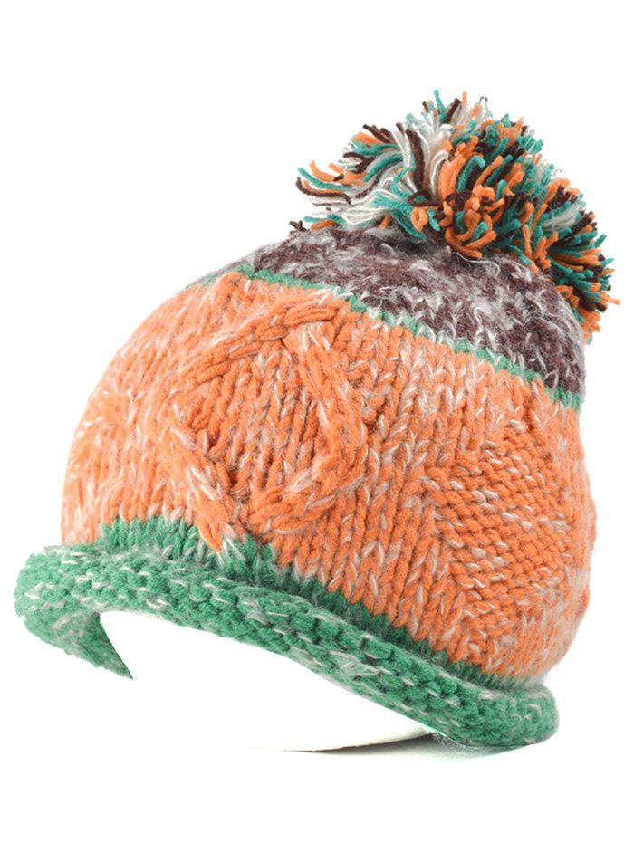 Multi Color Knit Ball Rolled Edge Beanie - GREEN