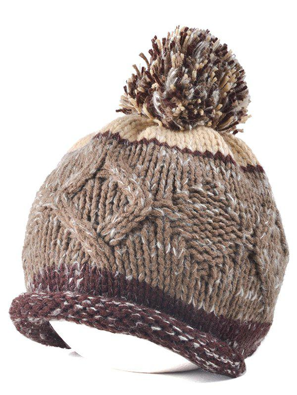 Multi Color Knit Ball Rolled Edge Beanie - COFFEE