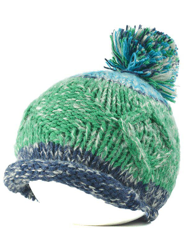 Multi Color Knit Ball Rolled Edge Beanie - JADE GREEN