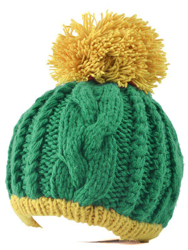 Twist Knit Double Color Ball Beanie - GREEN