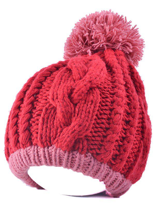 Twist Knit Double Color Ball Beanie - LIGHT PINK