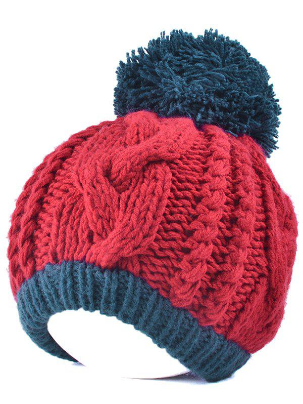 Twist Knit Double Color Ball BeanieAccessories<br><br><br>Color: RED