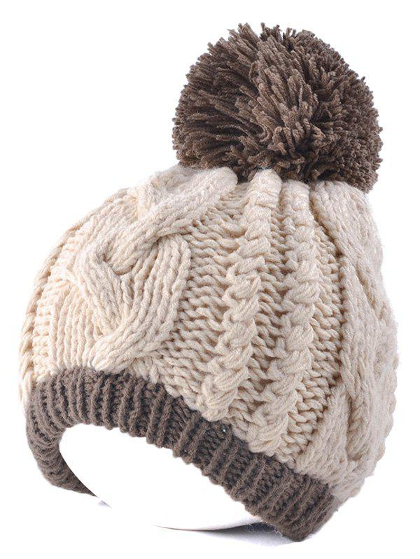 Twist Knit Double Color Ball Beanie - OFF WHITE