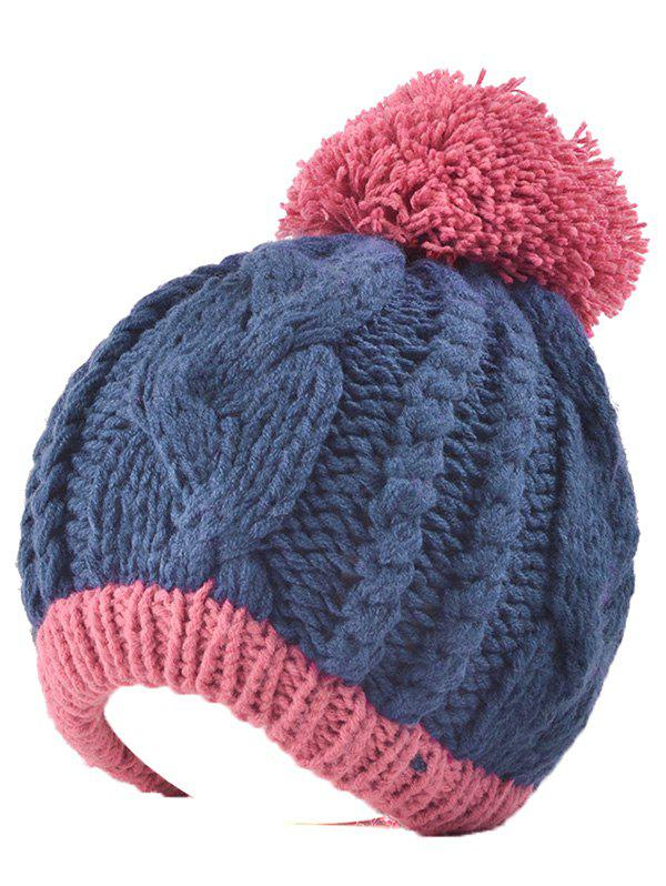 Twist Knit Double Color Ball Beanie - CADETBLUE