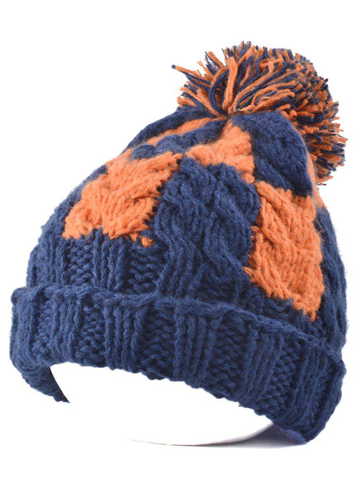 Flanging Check Pattern Ball Top Beanie - PURPLISH BLUE