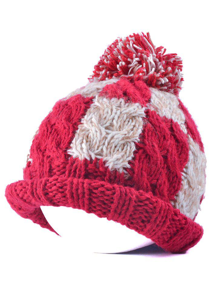 Flanging Check Pattern Ball Top Beanie - RED