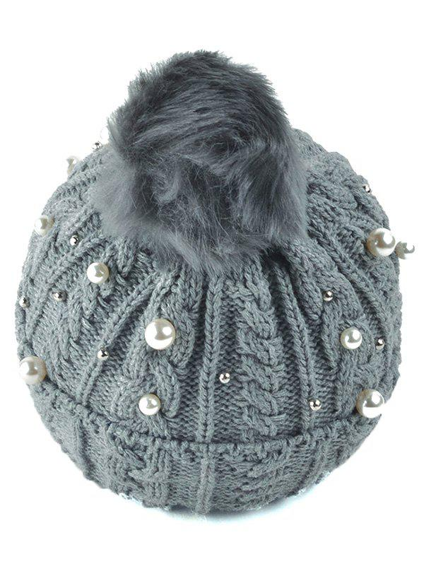 Flanging Faux Pearl Knit Ball Beanie - GRAY