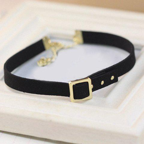Faux Leather Geometry Choker NecklaceJewelry<br><br><br>Color: BLACK