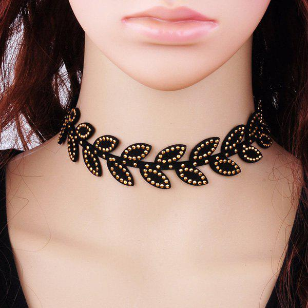 Velvet Rhinestone Leaves Choker - BLACK