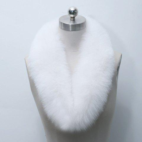 Winter Faux Fur Collar Scarf - WHITE