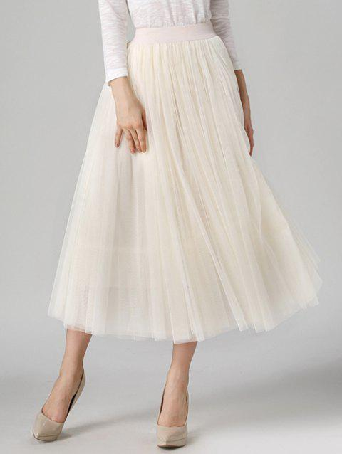 Tulle High Waist Midi Skirt - OFF WHITE ONE SIZE