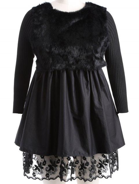 Plus Size Lace Splicing Faux Fur Knitted Dress - BLACK 3XL