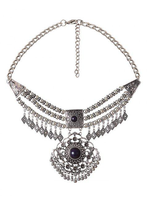 Beading Rhombus Tassel Layered Necklace - SILVER