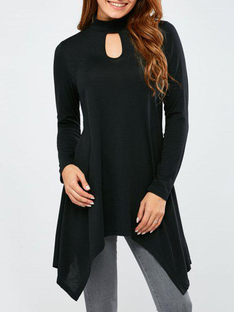 Long Sleeve Keyhole Neck Asymmetrical T-Shirt - BLACK L