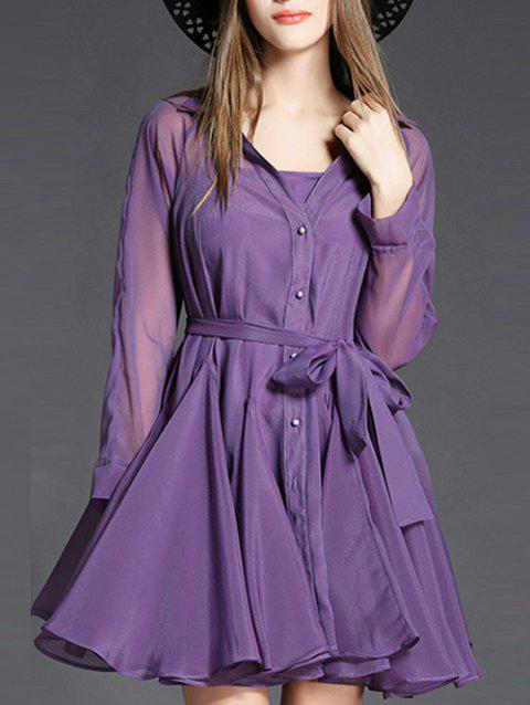 Long Sleeve Belted Dress with Cami Dress - PURPLE L